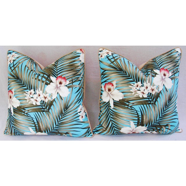 Custom Tropical Palm & Orchid Pillows - A Pair - Image 6 of 11