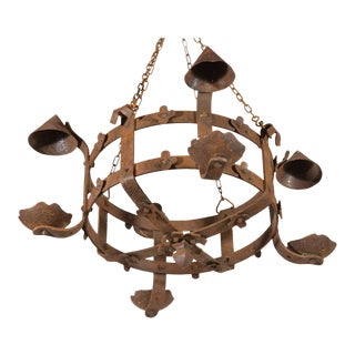 Antique French Round Iron Chandelier, Circa 1920