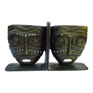 Modernist Bronze Tiki Face Bookends - A Pair