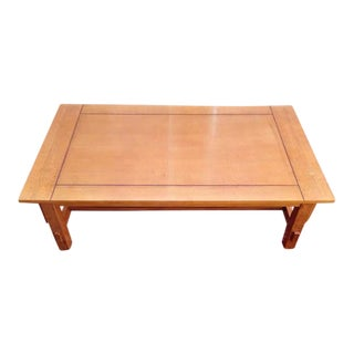 Contemporary Carved Oak Two-Tier Coffee Table