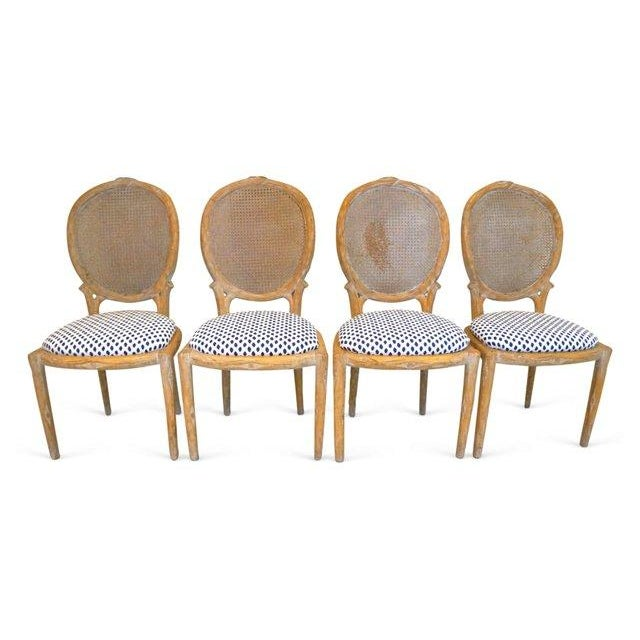 Vintage Faux Bois & Cane Dining Chairs - Set of 4 - Image 2 of 6