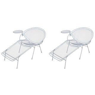 Pair of White Chaise-Lounges with Attached Side Table: Maurizio Tempestini for Salterini