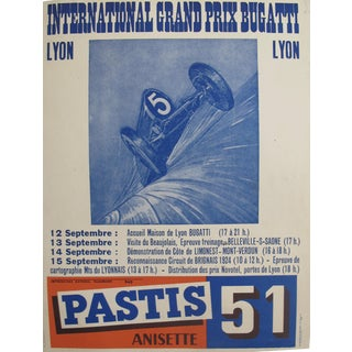 1940s Original French Bugatti Lyon Grand Prix Poster
