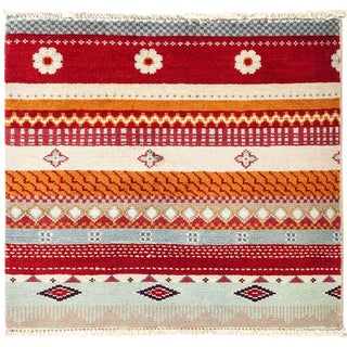"Lori, Hand Knotted Tribal Striped Wool Area Rug - 1' 10"" X 2' 1"""