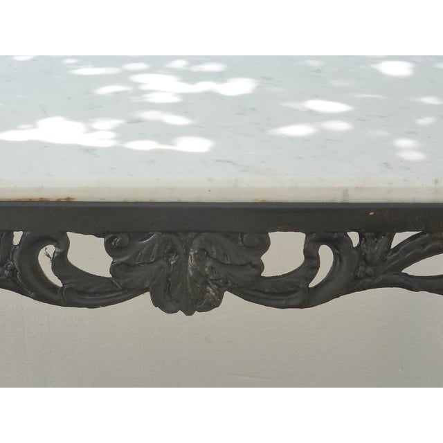 Antique Cast Iron Table with Marble Top - Image 3 of 8