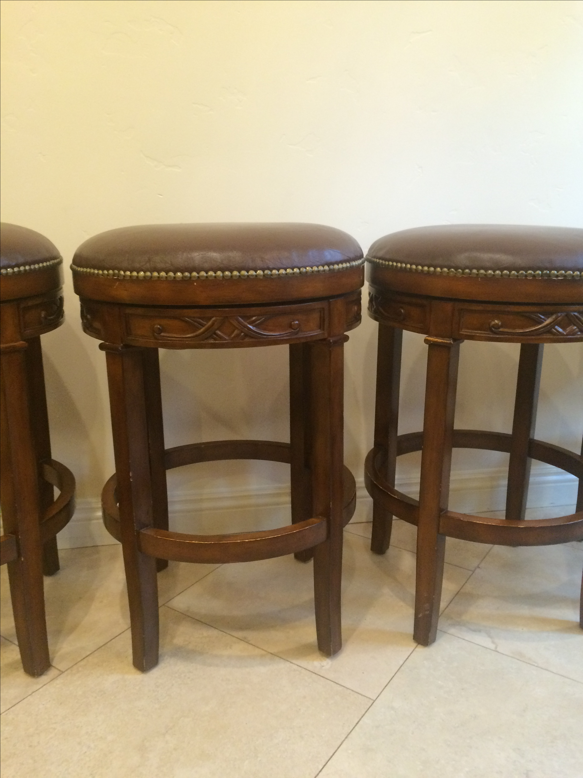 Swivel Leather Amp Wood Bar Stools Set Of 4 Chairish