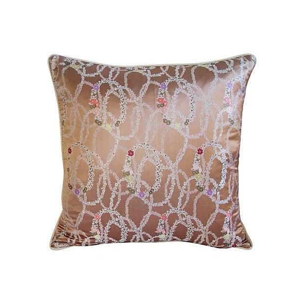 Image of Designer Floral Garland Silk/Linen Pillows - Pair