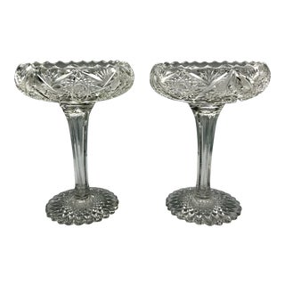 19th Century American Brilliant Period Tall Cut Crystal Compote Pedestal Bowls - a Pair