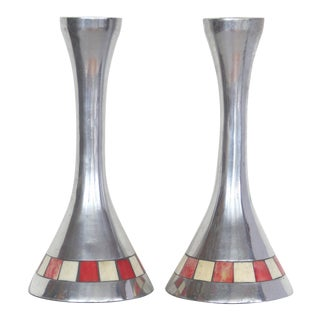 Tessellated Bone & Metal Candlesticks - A Pair