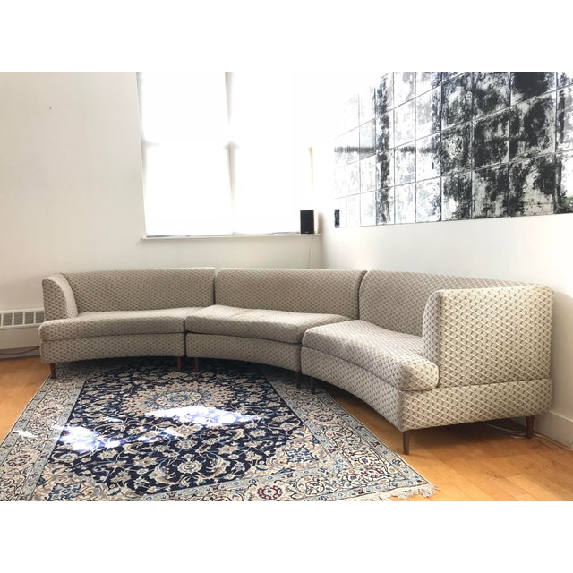Curved Keller-Williams Vintage Mid Century Sectional Sofa - 3 Pieces - Image 8 of 9