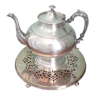 Silverplate Teapot & Trivet - A Pair