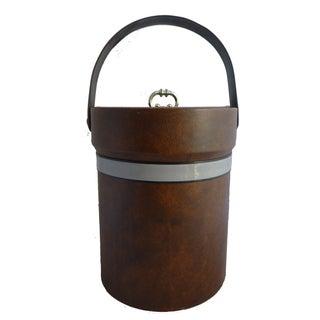 Mid-Century Brown Vinyl Ice Bucket