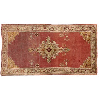 Distressed Vintage Turkish Oushak Rug Modern Industrial - 3′5″ × 6′3″