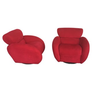 Red Plush Swivel Chairs by Directional - A Pair