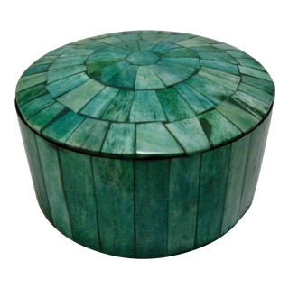 Vintage Green Tessellated Bone Round Table Box