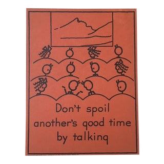 "Vintage 1940's Double-Sided ""Good Manners"" Stick Figure Poster - Don't Spoil/Always Be Quiet"