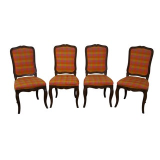 Vintage French Country Oak Dining Chairs - 4