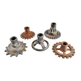 Vintage Factory Gears Candle Holders - Set of 5