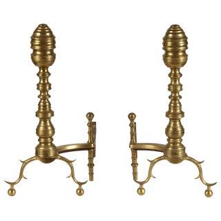 Pair of American Brass Andirons, circa 1870s