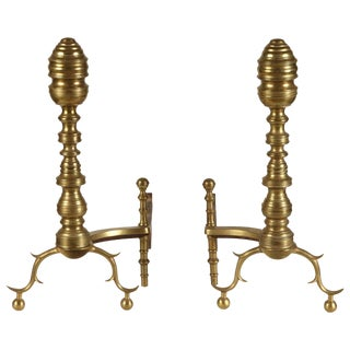 Pair of American Brass Andirons, circa 1870s