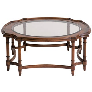 Burlwood and Smoked Glass Coffee Table