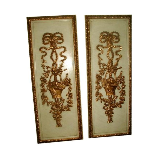 Gilt Decorative Wall Hung Panels - A Pair - Image 1 of 8