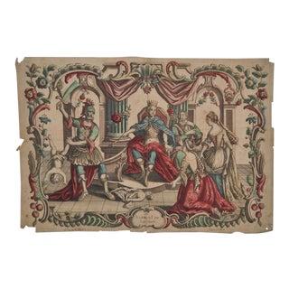 """Rare 18th Century Hand Colored Engraving """"LE JUGEMENT DE SALOMON"""" C.1780"""