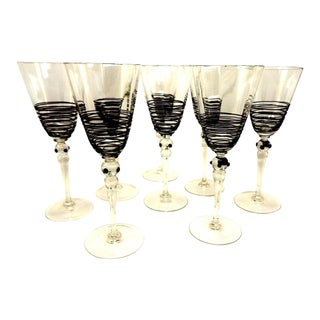 VINTAGE BLACK THREADED GOBLETS SET OF 8