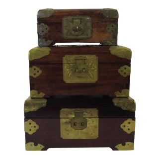 Antique Chinese Jewelry Boxes With Jade - Set of 3