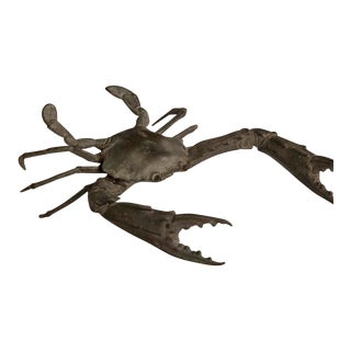 An enormous cast bronzed metal crab with exceptional lifelike detail from France c.1940