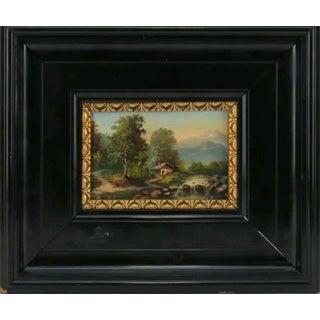 "Antique Austrian ""Das Passeiertal in Tirol"" Oil on Wood Panel"
