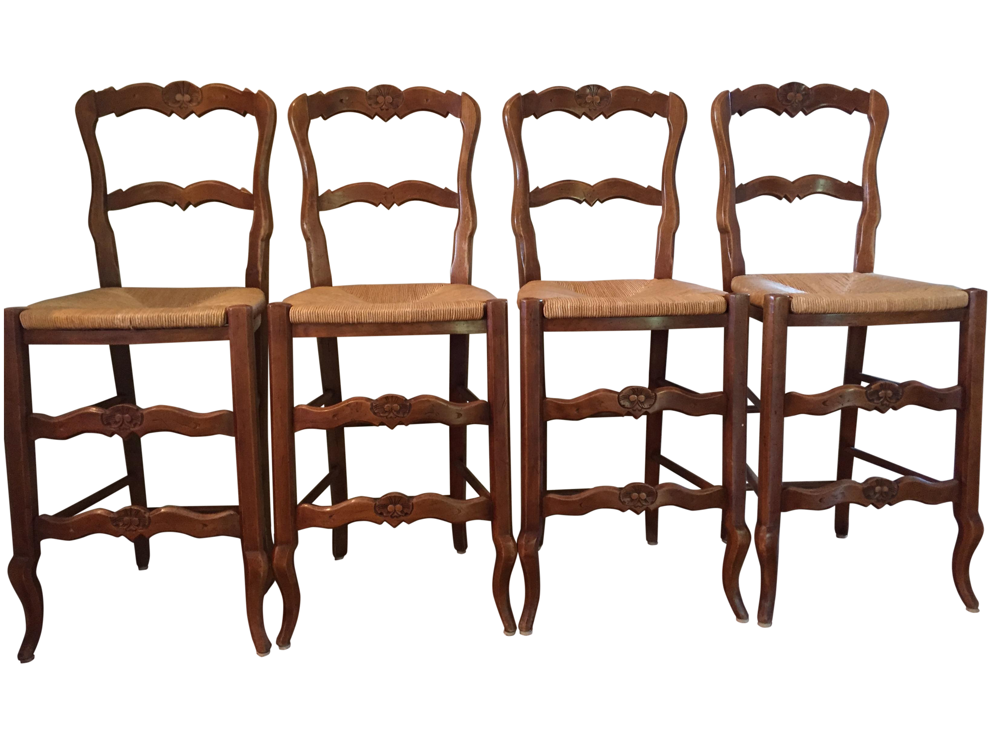 French Country Bar Stools Set Of 4 Chairish