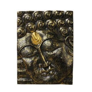 Buddha Wisdom Serene Peaceful Meditate Wood Craving Wall Decor