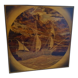 "Rudy Lechleiter ""Spanish Vessel"" Brass & Copper Etching"