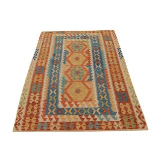 Afghani Design Vegetable Dyed Wool Kilim Rug - 5′6″ × 8′