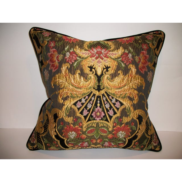 Aubusson Chenille Tapestry Lampas Accent Pillow - Image 2 of 2
