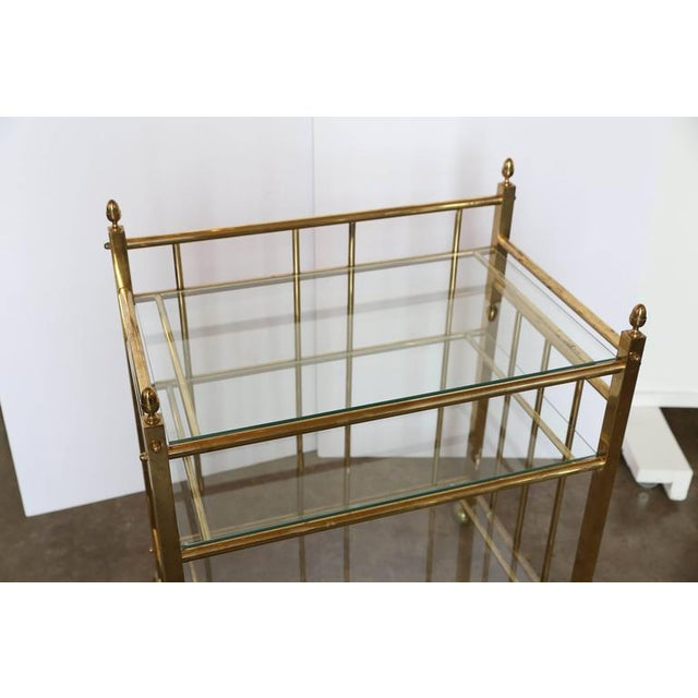 Three-Tier Brass and Glass Bar Cart, Tea Trolley &/or Service Cart - Image 6 of 6