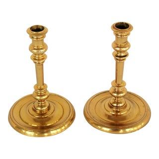 Round Brass Candlestick - A Pair