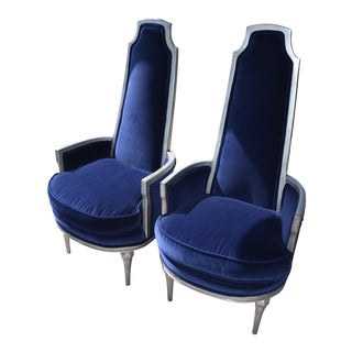 Refurbished Vintage Navy Velvet Armchairs - A Pair