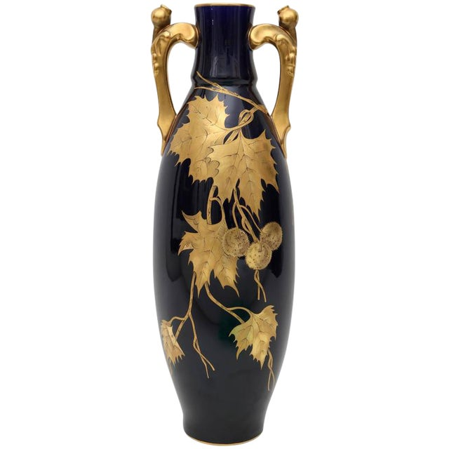 Image of Porcelain Vase by Gustave Asch in Cobalt Blue and Gold, circa 1900