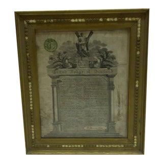Circa 1877 Grand Lodge of Scotland Membership Certificate