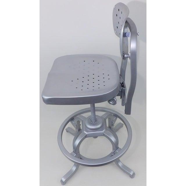 Good Form Mid-Century Modern Industrial Aluminum Drafting Swivel Stool Chair - Image 4 of 11