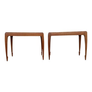 Brown Saltman Mahogany Side Tables - A Pair