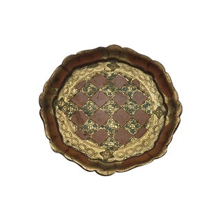 Round Florentine Tray with Scalloped Edge