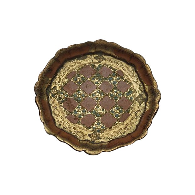 Round Florentine Tray with Scalloped Edge - Image 1 of 3