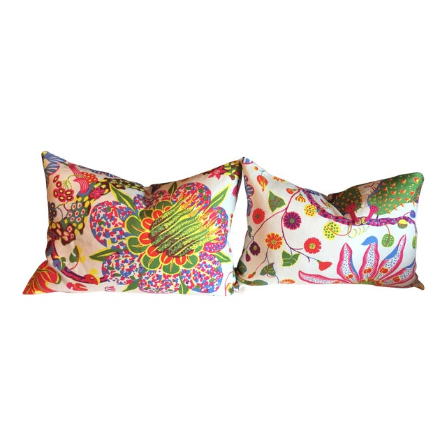 Colorful Floral Pillows - A Pair - Image 1 of 7