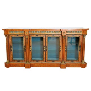 Victorian English Burled Walnut Credenza / Display Cabinet
