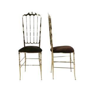 Chiavari Brass High Back Side Chairs - a Pair