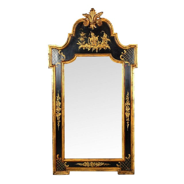 Vintage Black & Gold Chinoiserie Mirror - Image 1 of 6