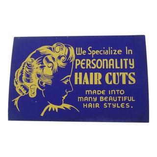 Vintage 40s Beauty Parlor Shop Sign